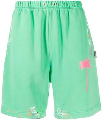Palm Angels Palm paint-splatter track shorts