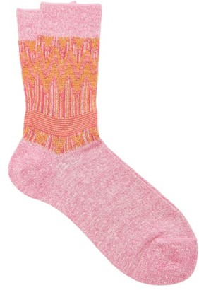 Falke Mexicali Zigzag-lame Ankle Socks - Pink Multi