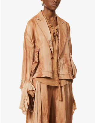 Phaedo Raw-hem cotton and silk-blend jacket