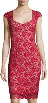 Neiman Marcus Lace-Overlay Sheath Dress, Red