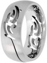 Sabrina Silver Surgical Steel Domed 9mm Tribal Design Ring Wedding Band Cut-out Matte Finish Comfort-Fit, size 9