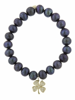 Sydney Evan Medium Clover Charm On Peacock Pearl Beaded Bracelet