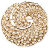 Anne Klein Gold Tone Swirl White Faux Pearls Brooch Set