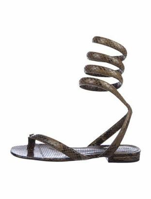 Bottega Veneta Emossed Calfskin Gladiator Sandals Green