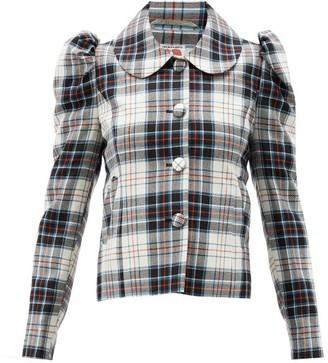 Shrimps Eliza Puff-shoulder Tartan-wool Jacket - Black Multi