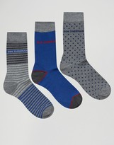 Ben Sherman 3 Pack Sock Gift Box Gray and Blue Set