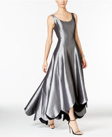 B Michael Metallic Scalloped A-Line Gown