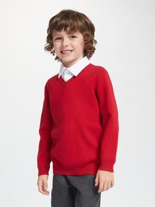 John Lewis & Partners Unisex Cotton V-Neck School Jumper