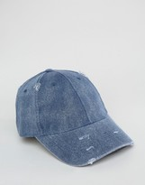 Asos Distressed Baseball Cap In Navy