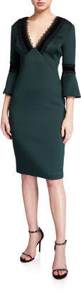 Badgley Mischka Lace-Trim V-Neck Trumpet-Sleeve Scuba Dress