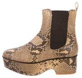 Dries Van Noten Python Platform Ankle Boots