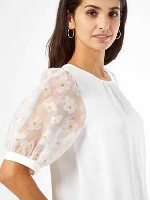Dorothy Perkins Organza Daisy T-shirt -Ivory