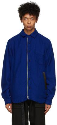Sacai Reversible Blue and Green Solid Shrivel Jacket