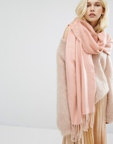 Pieces Woven Herringbone Scarf with Tassels in Rose