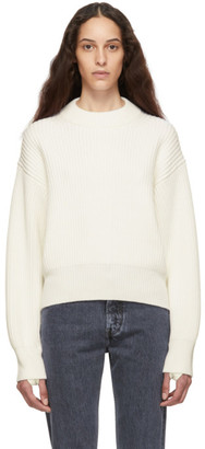 Helmut Lang Off-White Wool and Cotton Sweater