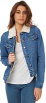 Rip Curl Womens Lined Sherpa Denim Jacket Blue