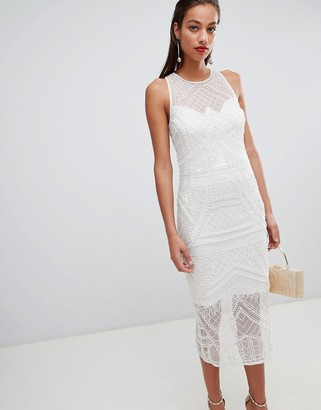 ASOS DESIGN embellished pearl fringe midi dress