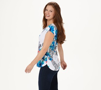 Denim & Co. Studio by Printed Jersey Dolman Cap Sleeve Top