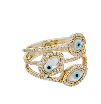 Diana M Fine Jewelry 14K 0.37 Ct. Tw. Diamond Evil Eye & Hamsa Ring
