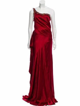 Naeem Khan One-Shoulder Silk Gown