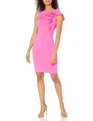 Eliza J Women's Sleeveless Scuba Sheath Dress with Ruffle Detail (Regular and Plus)