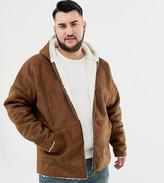 Asos Design DESIGN Plus reversible faux shearling jacket with hood in tan