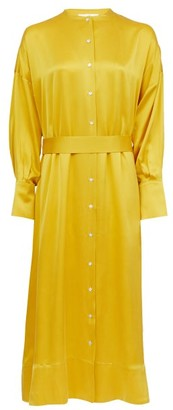 ASCENO Rome Belted Silk-satin Shirt Dress - Yellow