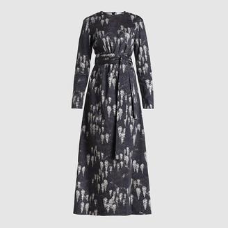 Marina Moscone Black Printed Stretch-Cotton Midi Dress Size US 6