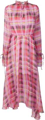 MSGM sheer check asymmetric dress