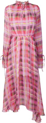 MSGM Sheer Check Asymmetric Dress