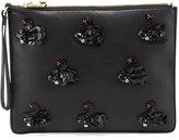 Cynthia Rowley Isla Crystal Swan Faux-Leather Clutch, Black