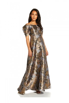 Adrianna Papell Puff Sleeve Gown