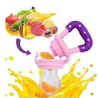 Q4U Baby Dummy Pacifier Fresh Food/Fruit Feeder Feeding Nipple Weaning Teething Nipple Teat Pacifier Teether Soother (Pink, M)