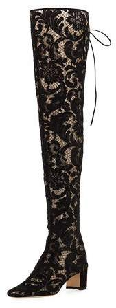 Manolo Blahnik Giovanna Lace Over-The-Knee Boot