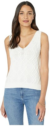 Lilla P Cable Knit Sweater Tank (White) Women's Clothing
