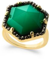 INC International Concepts Gold-Tone Green Stone Hexagon Statement Ring, Created for Macy's
