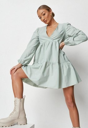 Missguided V Neck Tiered Smock Dress