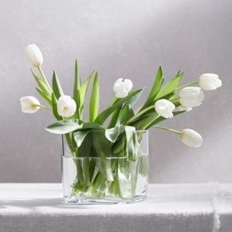 The White Company Lyndon Square Vase, Clear, One Size