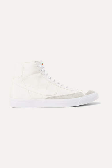 reputable site c4213 9fcc8 Blazer Mid '77 Suede-trimmed Canvas High-top Sneakers - Off-white