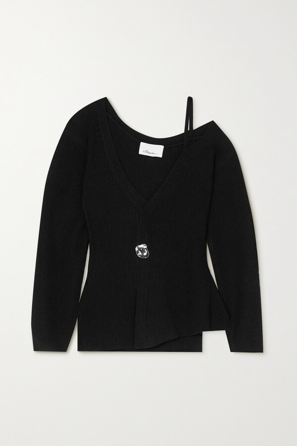 Thumbnail for your product : 3.1 Phillip Lim Cold-shoulder Embellished Ribbed Wool-blend Sweater - Black