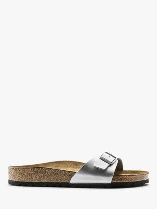 Birkenstock Madrid Open Toe Narrow Fit Buckle Sandals, Silver
