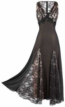Angel Fashions Angel-fashions Women's Deep V Neck Floral Lace Empire A-line Ball Gown - Black - X-Large