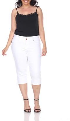 White Mark Women's Plus Size White Capri Jeans