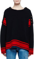 Alexander McQueen Military Striped Cashmere Sweater w/Buttons, Black/Red