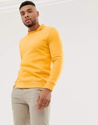 Asos Design DESIGN sweatshirt with polo collar in yellow