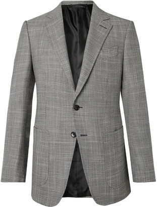 Tom Ford O'Connor Slim-Fit Houndstooth Wool, Mohair and Silk-Blend Blazer - Men - Gray