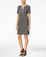 Nine West Striped Lace-Up Ponte Dress