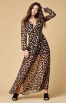 Reverse Isadora Leopard Print Maxi Wrap Dress