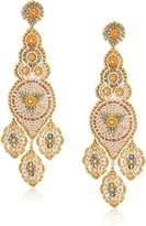 Miguel Ases Large Neutral Triple Leaf Center Art Deco Swarovski Post Drop Earrings