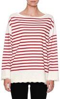 Dolce & Gabbana Striped Lace-Trim Pullover Top, Red/White